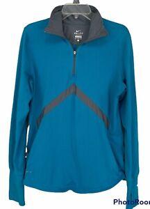 Nike Dri-Fit Women's XL Pullover 1/4 Zip teal Swoosh Logo pockets thumb holes
