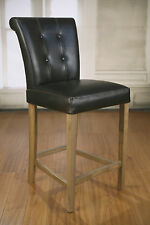 4 x Counter Stools Oak Leather Upholstered French Provincial Furniture New