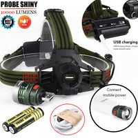 10000LM XM-L T6 LED Headlamp Headlight Head Light USB Rechargeable Lamp+ Battery