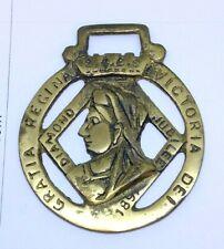 VTG Horse Brass Queen Victoria DEI Diamond Jubilee 1897 Gratia Regina Badge Fob