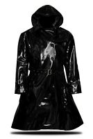 PVC Vinyl Women's hooded Trench Coat All sizes