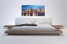 Miami Night Lights Panographic View Color Wall Sticker Wall Mural 25x52