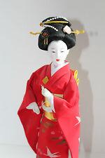 VINTAGE Geisha Doll Japanese Stand Red Bird Dress Kimono Oriental Maiko