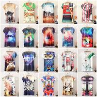 Summer Women Digital Print Shirt Graphic T-shirt Casual Sports Short Sleeve Tops