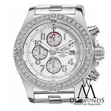Breitling Super Avenger A13370 White Dial Arabic 3.20ct 1 Row Diamond Bezel