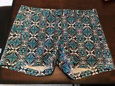 Stylus women's beach blue green Shorts size 8 boho retro flat front pockets NWT