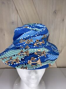 Patagonia Baby Bucket Hat Infant Chin Strap Fish Blue Summer 12 Month