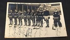 1938 Autographed Team USA Vintage Hockey RPPC POSTCARD IIHF World Championship