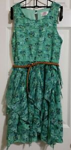 Justice Girls Green Ruffled Floral Dress Sz 12 Sleeveless Elastic Belted Frilly