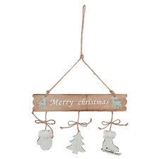 Placa Colgante Merry Christmas Patín árbol de navidad ciervo 24x35cm Shabby