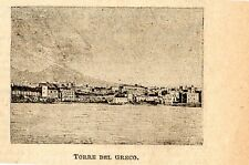 Stampa antica TORRE DEL GRECO piccola veduta golfo di Napoli 1899 Old print