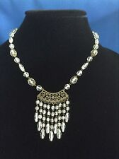 Clear White Filigree Crystal Bead Dangle Czech Necklace Victorian