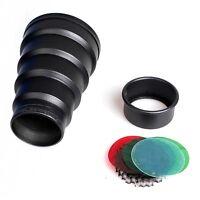 Metal Barn Door Honey Comb Grid Snoot+filter for Photography Light Studio Flash