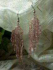 Pink Seed Bead Earrings Silver Plated A15-1