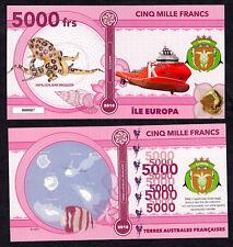 RARE ★ ILE EUROPA ● TAAF / COLONIE ● BILLET POLYMER 5000 FRANCS ★ N.SERIE 000007