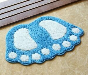 Foot Print Bath Mats Non-slip Bathroom Carpet Bath Pad Microfiber Mini Mats gift