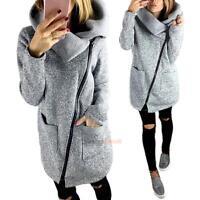 Womens Slim Trench Winter Coat Wool Warm Long Outerwear Jacket Parka Overcoat