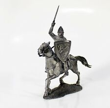 """Tin toy metal soldier """"Russian mounted knight, 13th cent.""""1/32 (54mm) #49"""