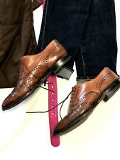 VINTAGE  Mens SHOES SIZE 10.5  Brown Leather Shoes BROGUE WING TIP Lace Up