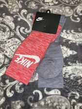 NWT Nike 2 Pack Men's Advance Crew Athletic Swoosh Logo Red/Gray Socks (L 8-12)