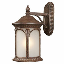 Weathered Bronze And White Seedy Glass Exterior Wall Light Fixture