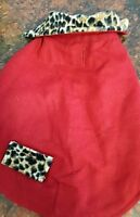 Dog coat in red wool with leopard trim and lining