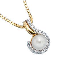 Halsketten und Anhänger aus Gelbgold mit Süßwasser-Perlen-Sets für Damen