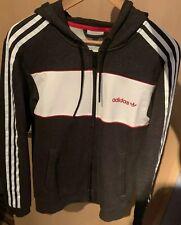 ADIDAS Jacke Größe S NEU Herren Frauen Grau Rot Streifen Marke Hoodie Sweatshirt