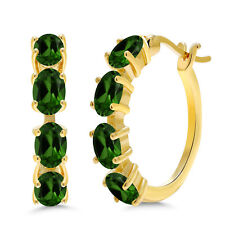 3.60 Ct Amethyst Green Chrome Diopside 18k Yellow Gold Plated Silver Earrings
