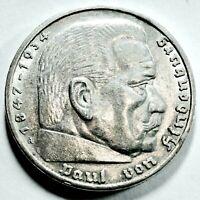 """5,- Reichsmark 1935 A Silber """"Paul von Hindenburg""""  Rs. Adler  vz/ xf mit Kapsel"""