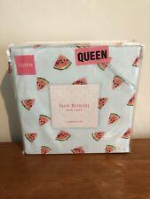 New Isaac Mizrahi Watermelon Slices Queen 4 Piece Sheet Set 100% Microfiber Blue