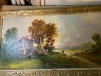 """Huge Valeri Rotini (b1911) """"Landscape With Figures And Home Scene"""" Oil Painting"""