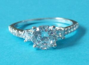 Diamond  White Sapphire Wedding Ring  Sterling Silver Pave White Gold Size 6-7