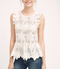 ANTHROPOLOGIE CYNTHIA VINCENT NATURAL FLORAL LACE RUFFLED ADORIA TOP Sz M