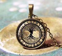 Lebensbaum Yggdrasil Weltenbaum Wikinger Anhänger Runen Amulett Bronze Kette