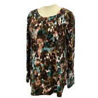 Denim & Co. Active French Terry Womans Top Multicolor Long Sleeve Size XL