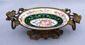 French Art Nouveau Hand Enameled Copper Small Footed Dish Gilt Bronze 19th C