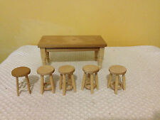 Doll's House Kitchen Table and 5 Stools