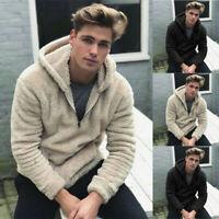 Men Winter Warm Pullover Fleece Sweatshirts Double-Sided Plush Hooded Coats Tops