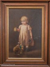 Antique Oil Painting of Young Girl with Kittens, Victorian Interior Scene, Nice!
