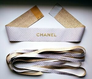 Authentic CHANEL Set of 2 white/gold gift wrap ribbons LE Spring 2020