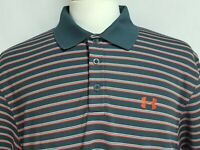 Under Armour Mens sz L Dark Gray Red Striped Polyester Golf Polo Shirt