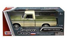 1969 Ford F-100 Pickup Truck 1:24 Scale Diecast Model Green / Cream  79315A*