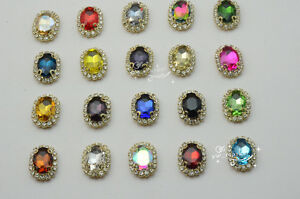 10 pcs Costume Dress Oval Color Rhinestone Applique Sewing On Button 10mm x 14mm