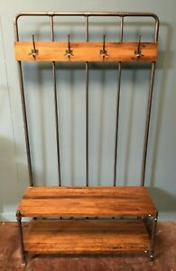 INDUSTRIAL BENCH / HALLWAY STAND / COAT / HAT STAND / WOOD SEAT / METAL FRAME