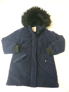 10-11 years Girls thick fur hood Coat blue (P)