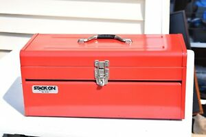 Vintage Red Stack On Mechanics Tool Box 20 inch Metal / tray Nice Chest R-25