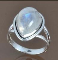 Rainbow Moonstone Solid 925 Sterling Silver Band Ring Meditation Ring Sr739