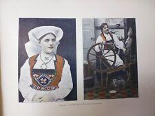 NORVEGE/SUEDE/Gravure 19°in folio couleur/ HARDANGERFIORD /COSTUME NATIONAL