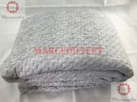 Hotel Collection Diamond Stripe FULL / QUEEN Quilted Coverlet Grey